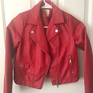 Other - Red Faux Leather Jacket